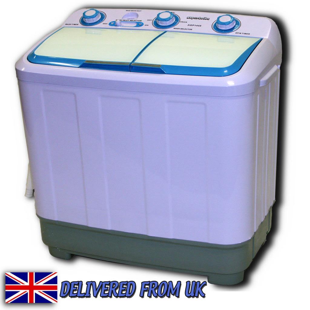 Twin Tub Washing Machine 4.8kg Compact Portable Caravan Spin Dryer Electric  Pump | EBay