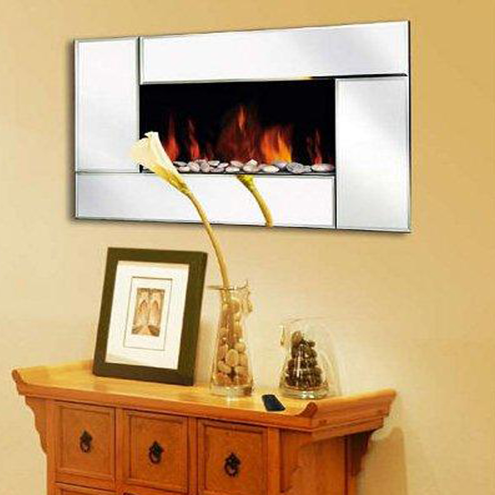 Wall Mounted Glass Fireplace Electric Fire Widescreen Home Living ...