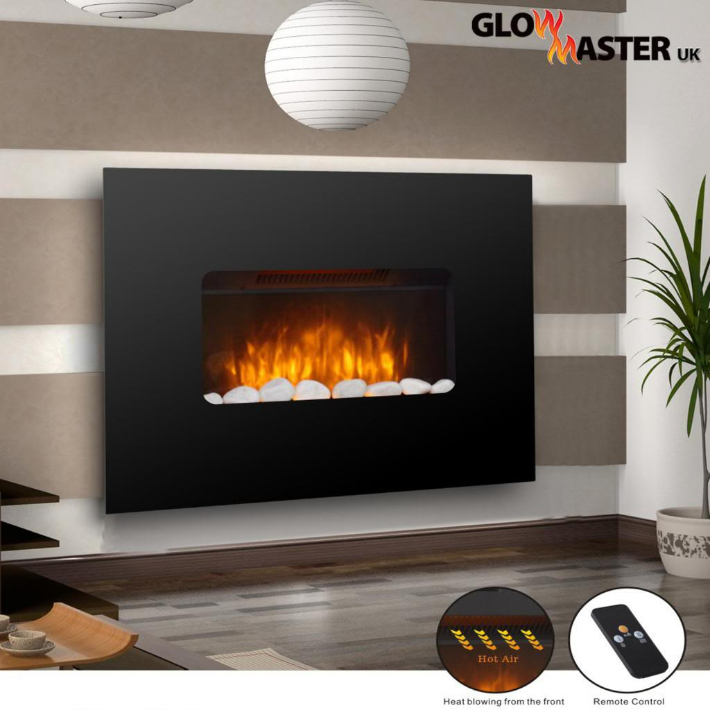 Electric Fire Fireplace Widescreen Flicker Flame Black