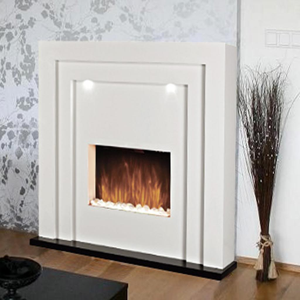 Free Standing Electric Fireplace Fire Led Lights White Mantelpiece