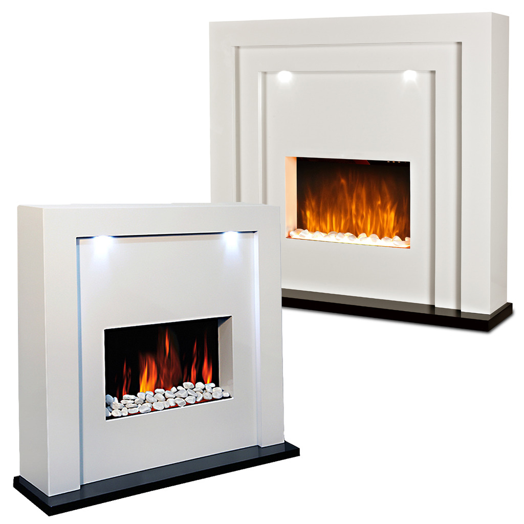 Contemporary Free Standing Electric Fires: Electric Fire Fireplace Led Lights Free Standing White
