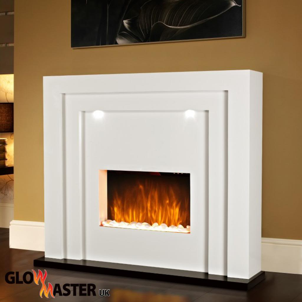 Electric Fire Fireplace Led Lights Free Standing White Inset Heater