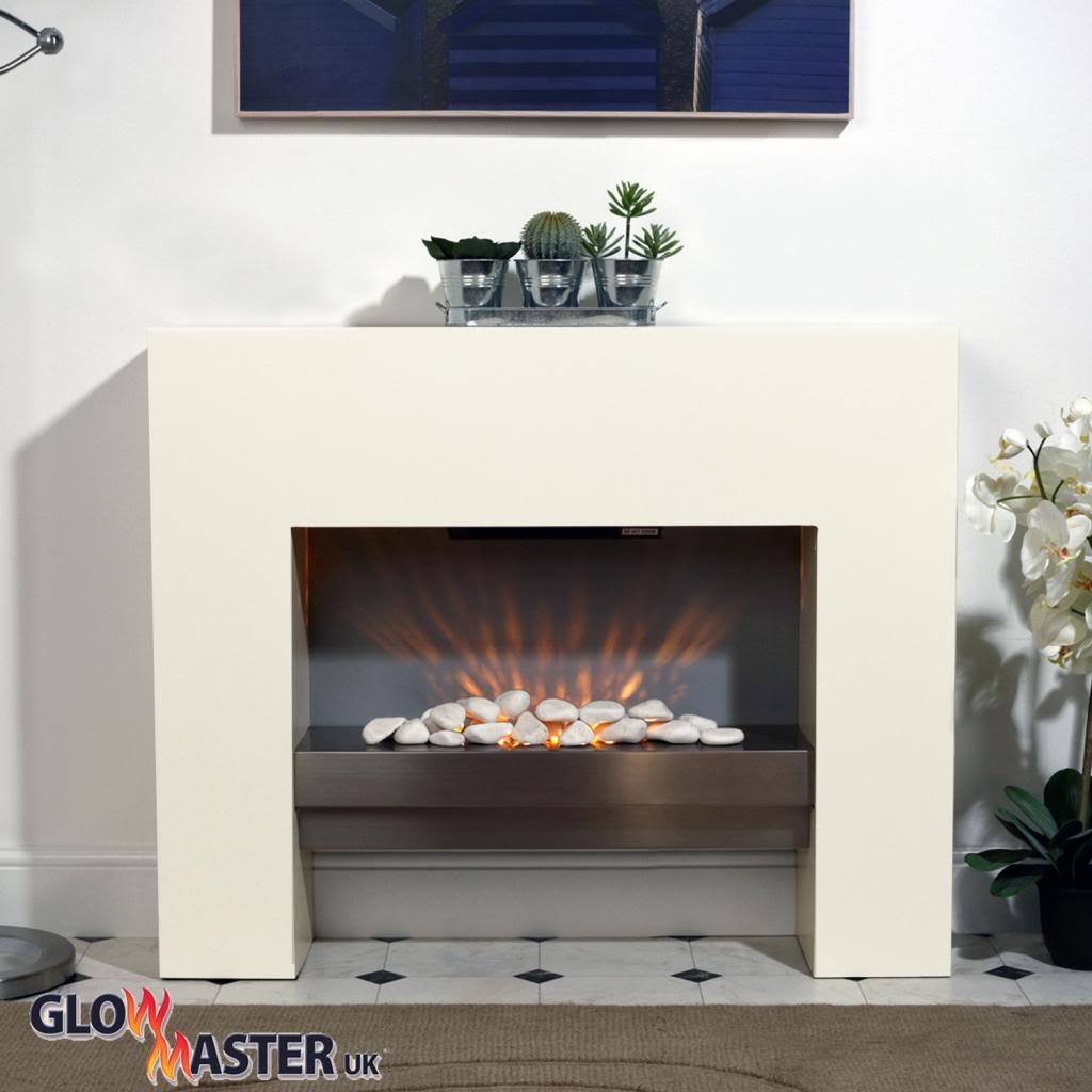 Contemporary Free Standing Electric Fires: Free Standing Fire Surround White Electric MDF Fireplace
