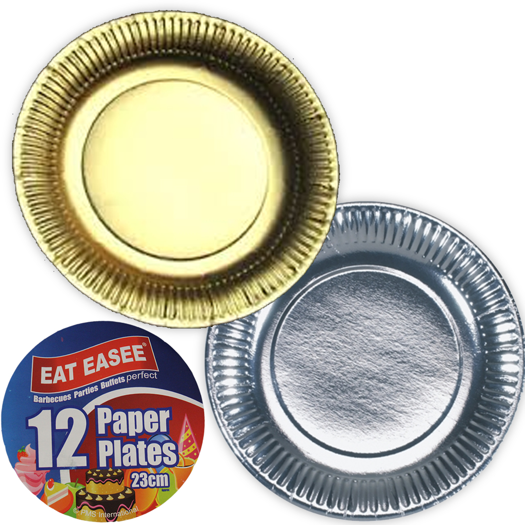 Unbranded  sc 1 st  eBay & Paper Plates Party Serving Dinner Metallic Gold Silver Picnic BBQ ...