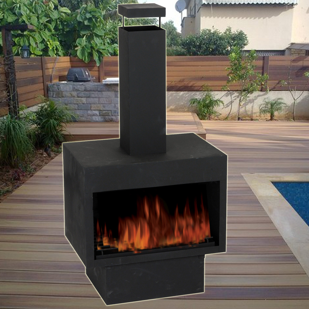 Chiminea Burner: Garden Firepit Patio Outdoor Heater Log Stove Burner