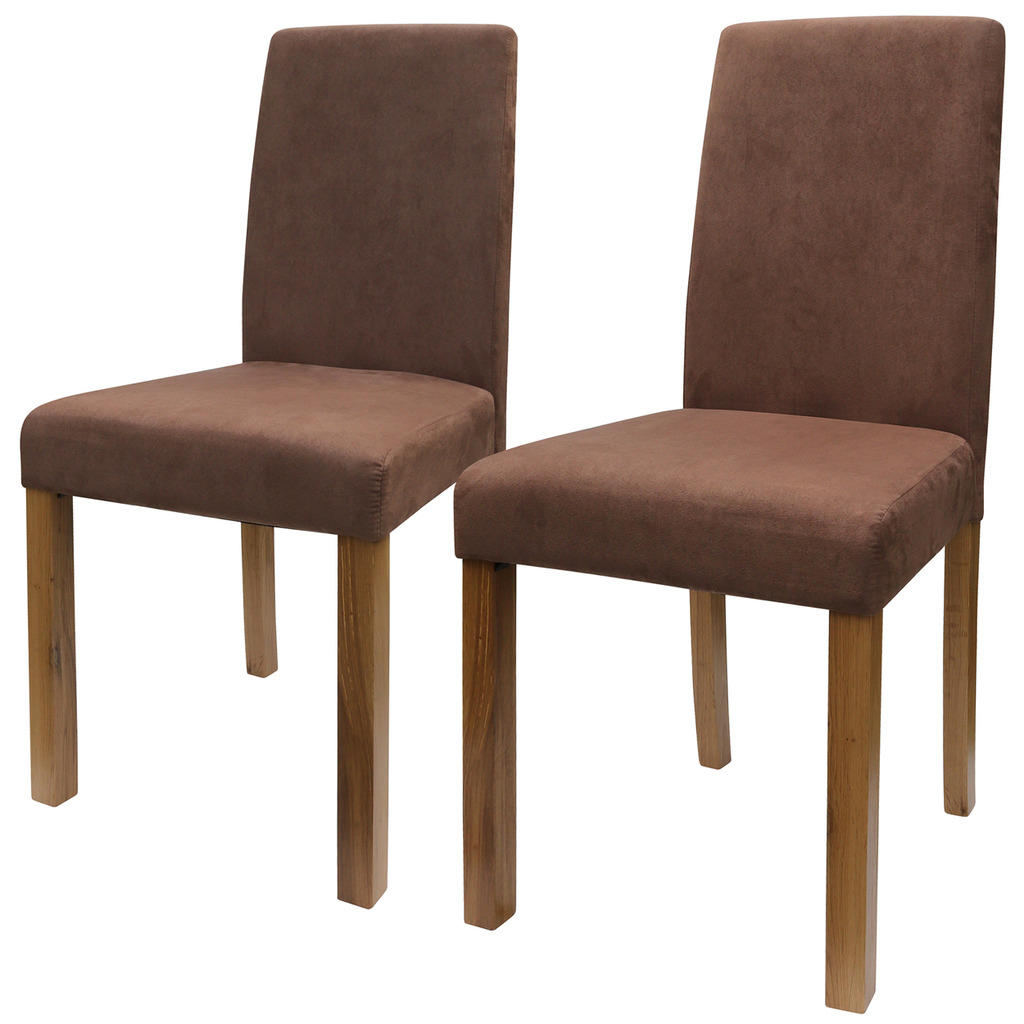 Dining Room Fabric Chairs Faux Suede High Back Black Brown