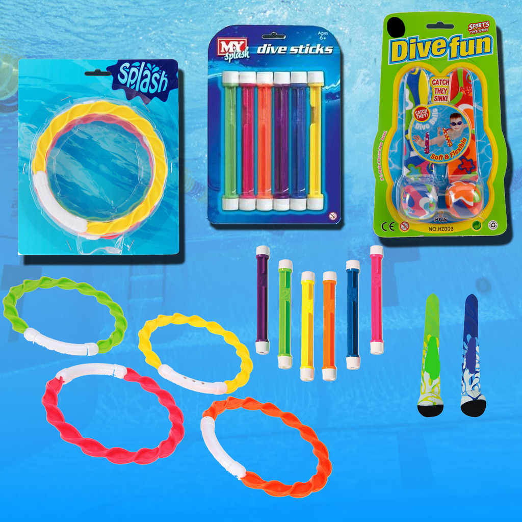 Details about Underwater Toys Swimming Pool Dive Balls Rings Weighted  Sticks Swim Water Games