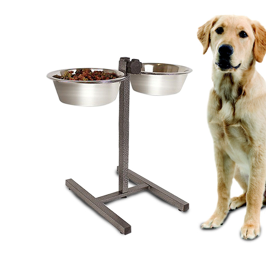 Double Diner Raised Dog Bowls Food Water Feeding Dishes ...