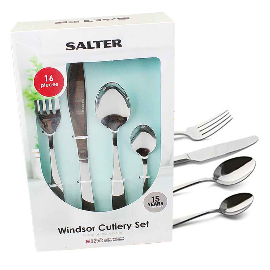 Cutlery Set Stainless Steel Windsor 16 Piece Salter Kitchen Dinner ...