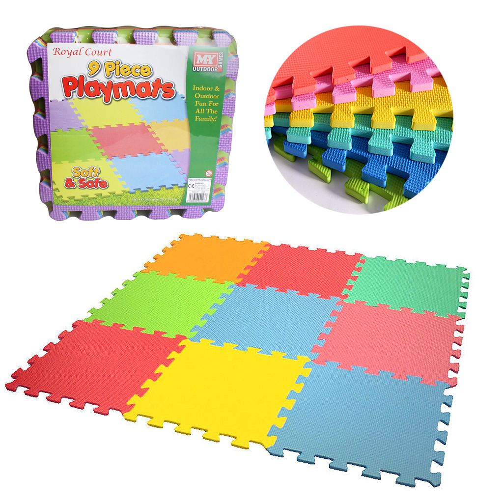 Eva Mat Floor Tiles Kids 9 Piece Interlocking Soft Foam