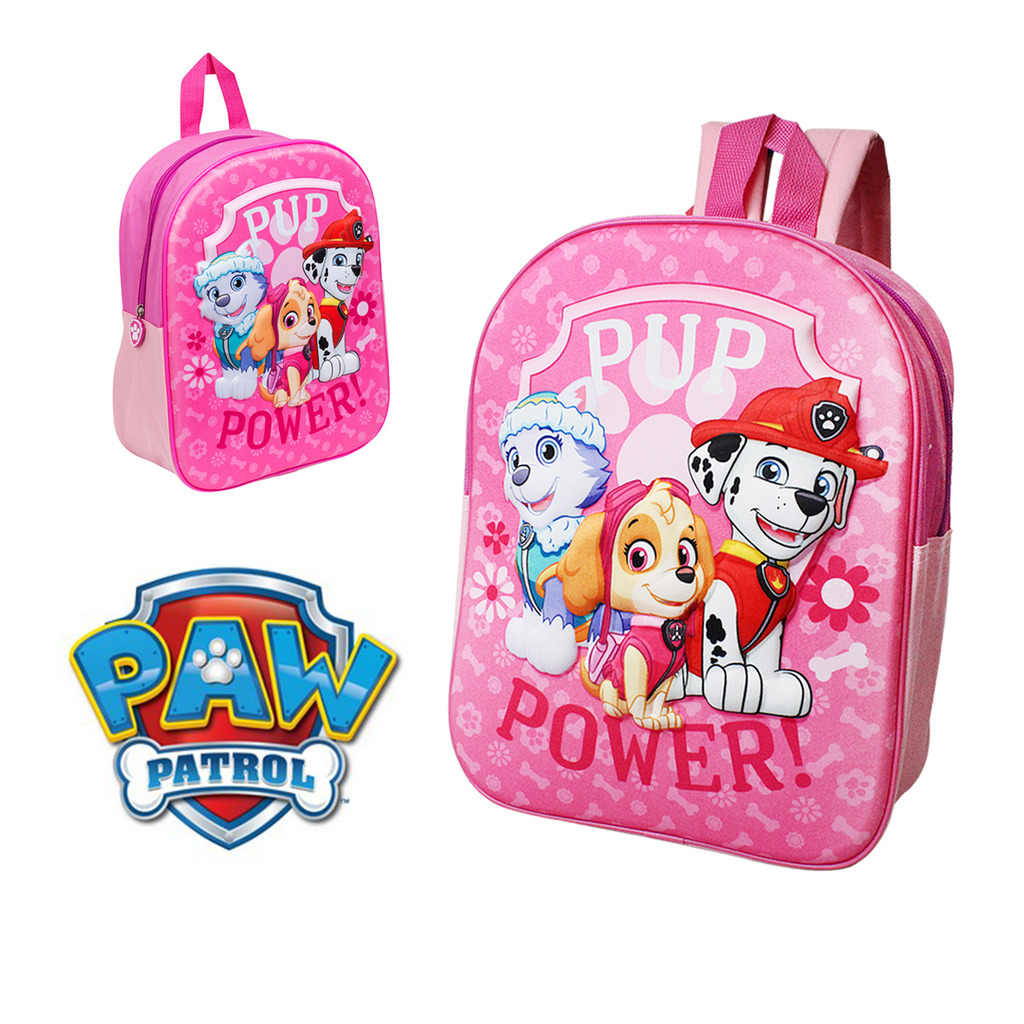 5ab15f05cc26 Details about Paw Patrol School Bag Backpack Rucksack 3D Travel Kids Girls  Lunch Book Nursery