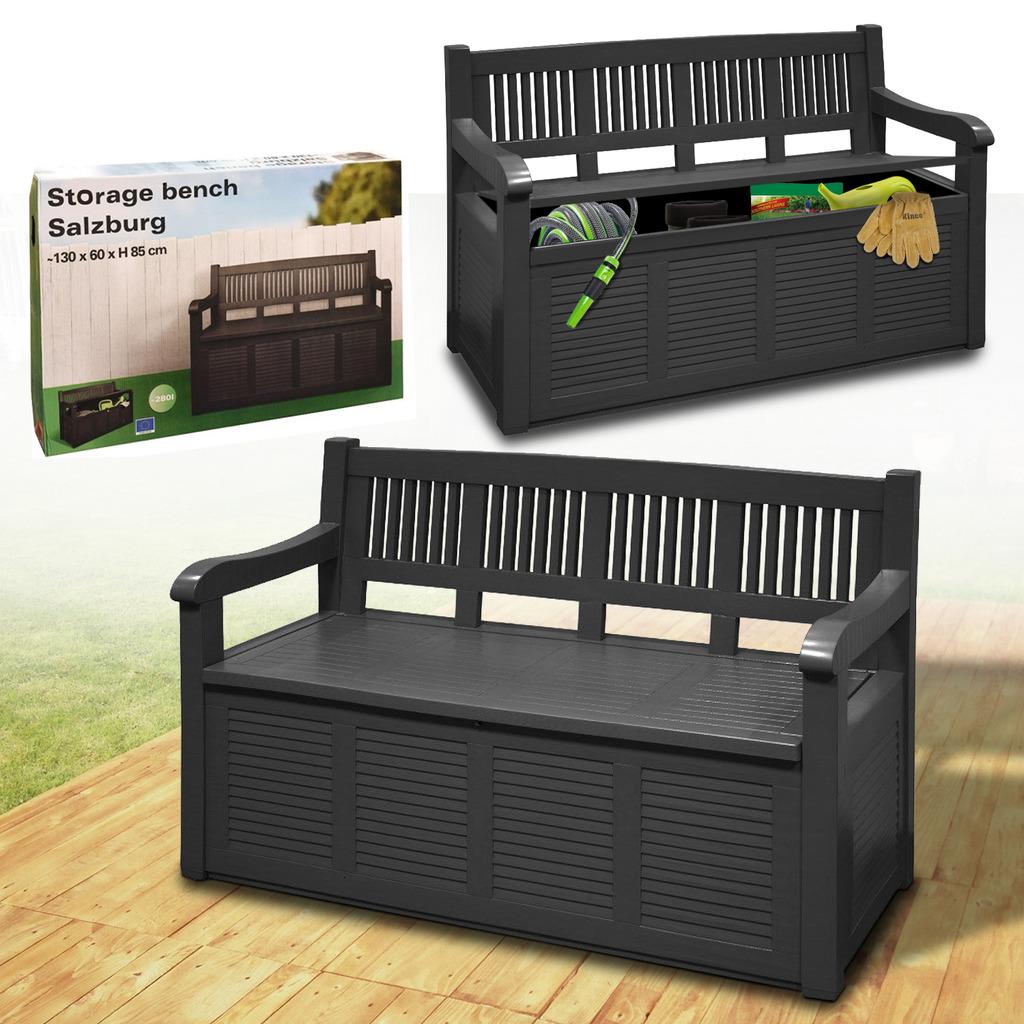 garden storage bench outdoor plastic cushion box. Black Bedroom Furniture Sets. Home Design Ideas