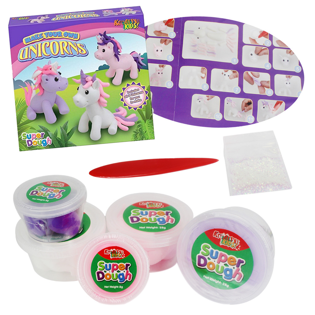 Kids Unicorns Play Dough Set Make Your Own Glitter Shapes Children/'s Doh Craft